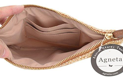 AGNETA Women's Hand Wrist Type Straw Clutch Summer Beach Sea Handbag (Brown Large) by AGNETA (Image #3)