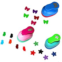CADY 1 Inch paper punch,,Pack of 3,butterfly,penguin,flower,Easy to Use for CADY Scrapbook,Greeting Crads or Handmake Projects