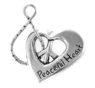 Peaceful Heart w/ Peace Symbol Blessing Ring Keychain