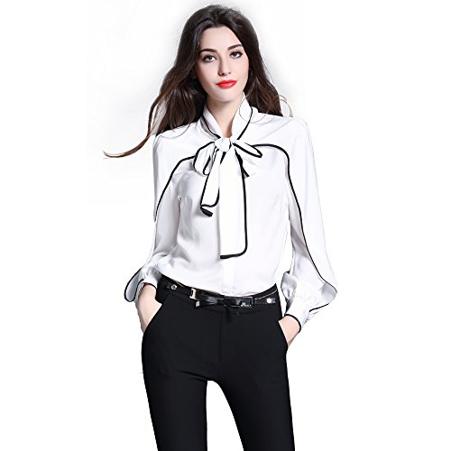 DIFANER Women Blouses Long Sleeve Stand Collar Bow Tie Button-Down Shirts White Color Silk Tops
