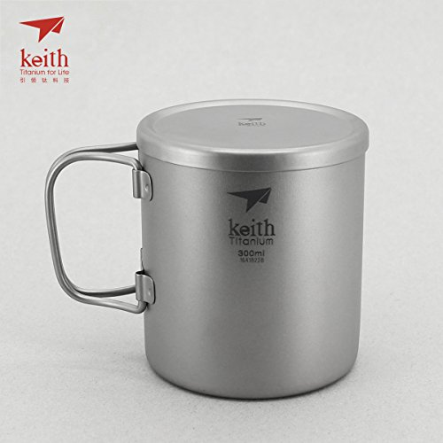 Keith Titanium Ti3352 Double-Wall Mug with Folding Handle and Lid - 10.1 fl oz