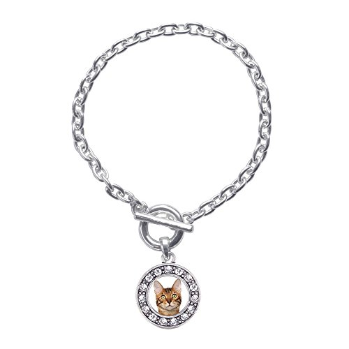 Inspired Silver Bengal Cat Circle Charm Braided Toggle Charm Bracelet