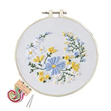 Handmade Embroidery Starter Beginner Kits with Pattern and Instructions, Cross Stitch Kit Include Embroidery Clothes with Floral Pattern, Bamboo Embroidery Hoops, Color Threads and Needles