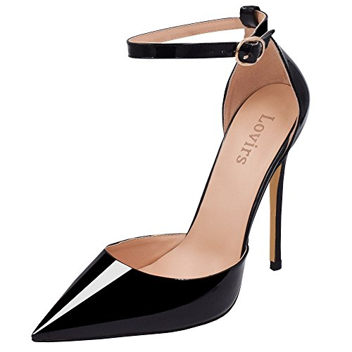 LOVIRS Womens Black High Heel Pointed Toe Ankle Strap Stiletto Pumps Wedding Basic Shoes 6.5 M US