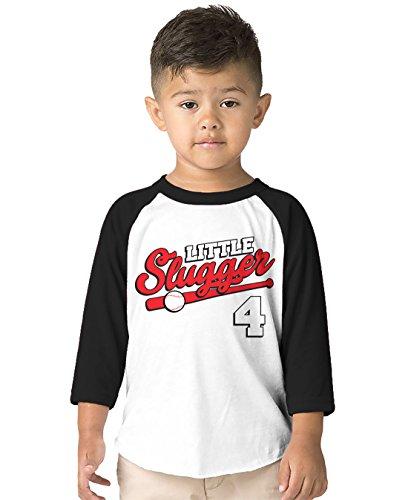 SpiritForged Apparel Little Slugger 4 Year Old Toddler 3/4 Raglan Shirt, Black 4T