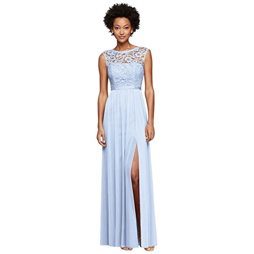Long Bridesmaid Dress with Lace Bodice Style F19328, Ice Blue, 14
