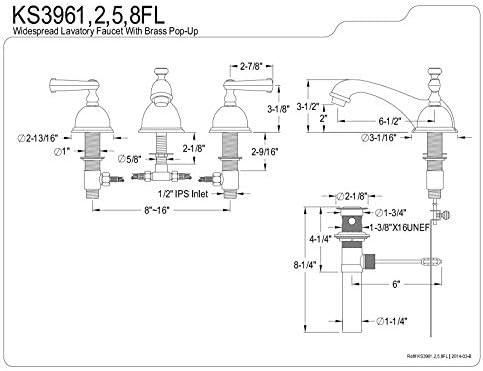 Kingston Brass KS3968FL Royale Widespread Lavatory Faucet Brushed Nickel