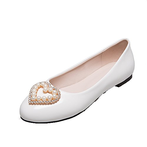 White Shoes Low Round On Pumps Heels PU Toe Women's VogueZone009 Pull Patent PO6xFq
