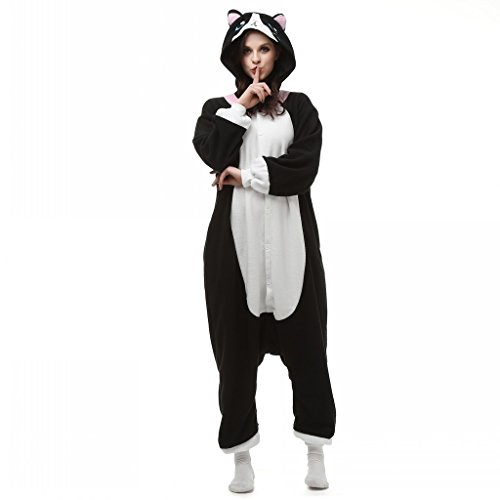 One Piece Pajamas Cartoon Cat Hoodie Cosplay Jumpsuit Costume Adult Onesies Sleepwear Size L (Adult Cartoon Characters)