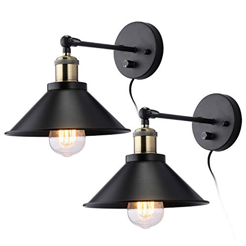 Swing Arm Wall Sconce 2-Pack, Bedside Industrial Hardwired UL Black Matte Iron Lampshade with Oil Rubbed Brass Light Socket, Farmhouse Sconce Wall Mounted Light