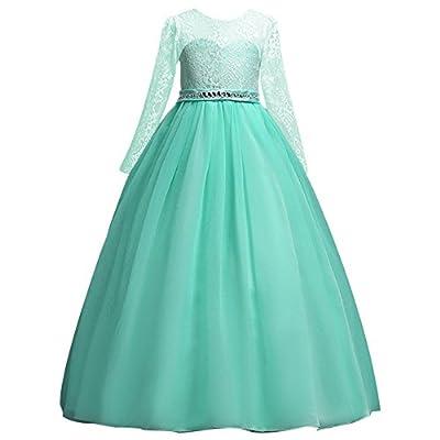IWEMEK Girls' Tulle Flower Lace Wedding Bridesmaid Dress Long Sleeve Sweetheart Formal Floor Length Evening Gown
