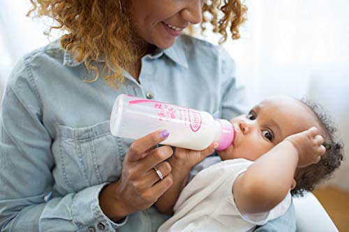 41ytQ7cUnzL - Dr. Brown's Options+ Baby Bottles Pink Gift Set With Silicone Teether, Pink Sippy Cup, Pink Bottle Brush And Travel Caps, Includes 6 Narrow Pink Baby Bottles