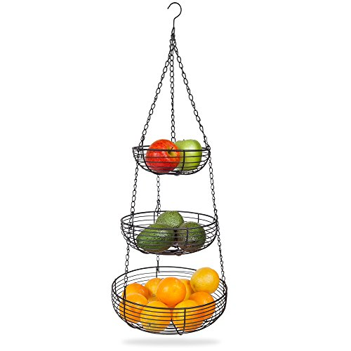 Home Intuition 3-Tier Hanging Basket Heavy Duty Wire, Round (Black) ()