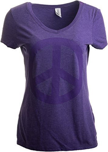 Peace Sign | Cute, Cool Retro Hippy Positive Happy Yoga V-Neck T-Shirt for Women-(Vneck,2XL) -