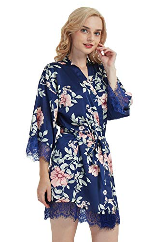 Floral Satin Kimono Robe for Bridesmaids with Lace Navy Blue/Medium