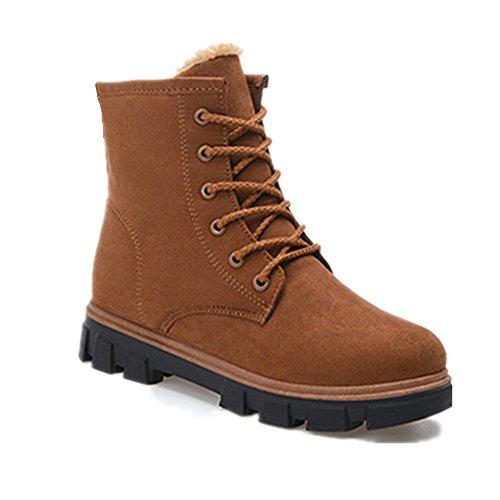 Botines Botas Mujer de antideslizantes Botas Marrón Invierno Fur Zapatos interno para lana Martin Calentar Nieve CUSTOME Planos vqfXgg