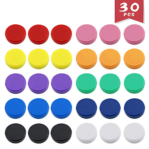 - DLOnline 30 Pack Office Supplies Magnets,Round Refrigerator Magnets,Whiteboards, Lockers, or Fridge Magnets (Assorted 10 Colors)