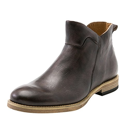 Insun Mens Cowhide Leather Zipper Ankle Boots Brown guK6RNVO