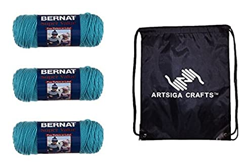 Bernat Yarn Bundle: 3-Pack Bernat Super Value Solid Yarn Aqua 164053-53201 with 1 Artsiga Crafts Project Bag
