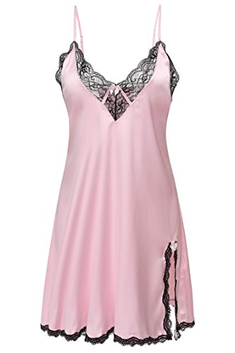 Pink Short Nightgown (Skylin Cute Lingerie Lace Satin Chemise Plus Size Nightwear Nightie Nightdress (Pink, X-Large))
