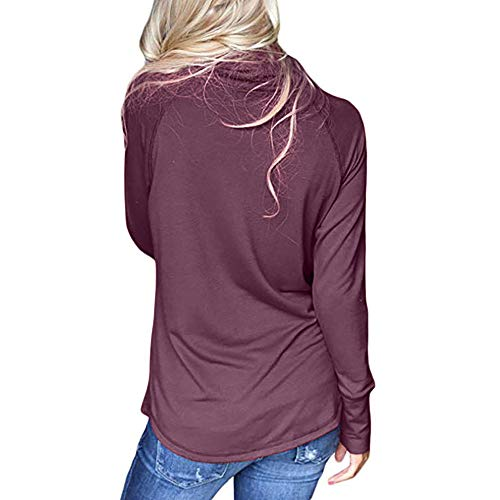 Sleeve T Shirt Womens Patchwork Fashion DOLDOA Casual Sweater Warm Loose Purple Cardigan Tops Long Knitted SwvZvqpR