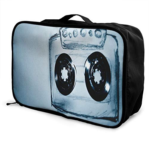 Travel Bags Retro Audio Cassette Music Portable Storage Trolley Handle Luggage Bag