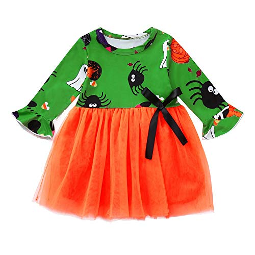 HYIRI 2018 Promotion Halloween Cartoon Print Bowknot Dress,Children Baby Girls Clothes Outfits