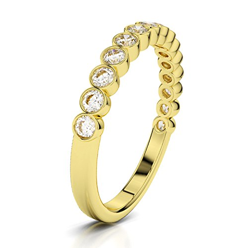0.45 CT.14K Yellow Gold Bezel Set Natural Real Round White Diamond Wedding Anniversary Band for Women