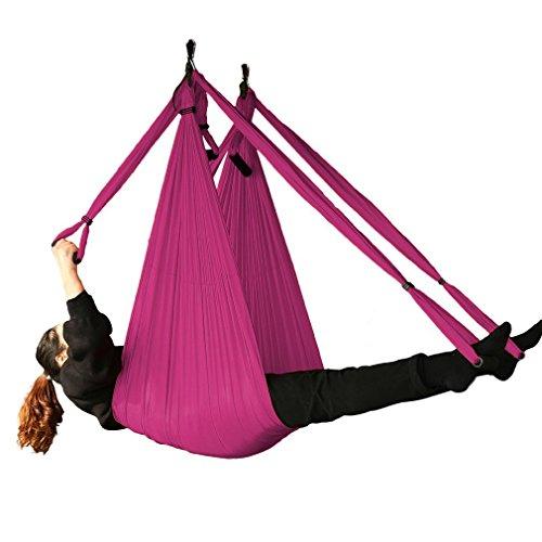 EverKing Aerial Yoga Straps Trapeze - Antigravity Yoga Swing/Sling/Inversion Tool,Air Flying Yoga Hammock Belt Fitness Swing Hammock for Yoga Inversion Exercises (purple)