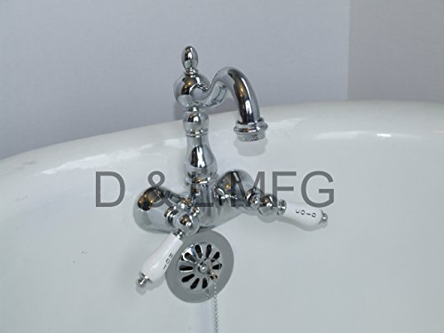 Clawfoot Tub Filler with Short Gooseneck and Porcelain Handles - Gooseneck Clawfoot Tub Faucet