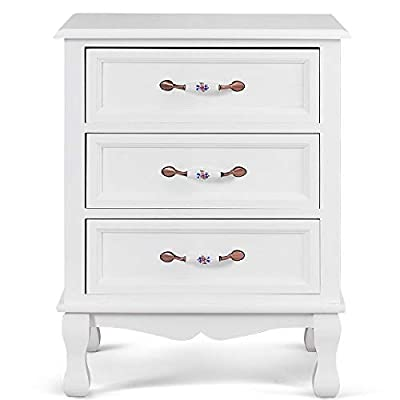 Giantex 3 Drawers Nightstand End Table Storage Wood Cabinet Bedroom Side Storage from Giantex