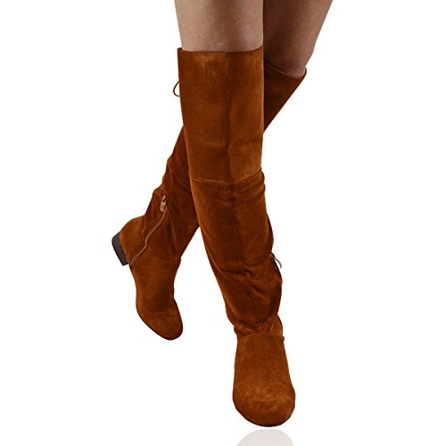 ESSEX GLAM Womens Thigh High Flat Heel Ladies Lace Up Over The Knee High Boots Size 3-8 TAN FAUX SUEDE B9qE7WhrYz