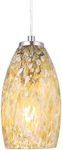 NALATI 1-Light Bell Pendant Art Glass Hanging Light With Brushed Nickel Finish For Kitchen Island Light Yellow