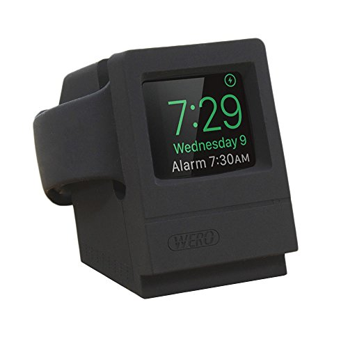 harging Dock Cradle Holder Mount [Night Stand Mode] [Cable Management] [Scratch-Free Soft Silicone Made] Applicable for Apple Watch Series 4/3/ 2/1, 44mm - 38mm Case (Black) ()