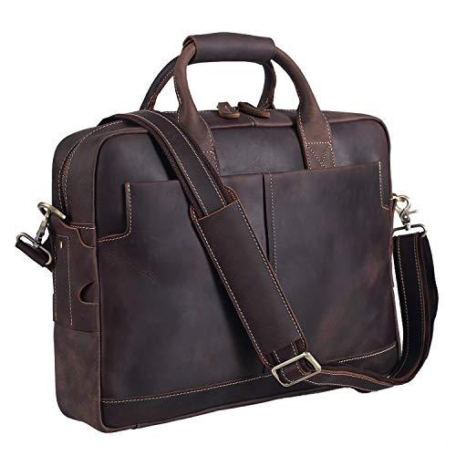 Polare Men's Sturdy Genuine Leather 16'' Laptop Bag Briefcase Shoulder Bag
