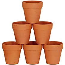 Winlyn 6 Pcs Large Terracotta Pot Clay Pots 5'' Clay Ceramic Pottery Planter Cactus Flower Pots Succulent Pot Drainage Hole- Great for Plants,Crafts,Wedding Favor