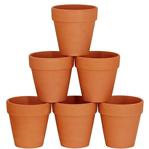 Winlyn 6 Pcs Large Terracotta Pot Clay Pots 5'' Clay Ceramic Pottery Planter Cactus Flower Pots Succulent Pot Drainage Hole- Great for Plants,Crafts,Wedding Favor