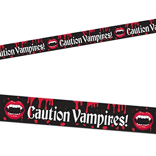 HALLOWEEN DECORATION VAMPIRE BLOOD BITE CAUTION TAPE BANNER FANCY ACCESSORY]()