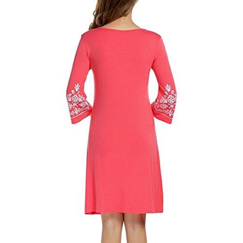 Vestido Estampado de Moda by Ba Zha Hei, Vestido Tallas Grandes Mujer | Verano Elegante Asimetricos Ropa | Vestidos de Manga 3/4 para Fiesta Coctel ...