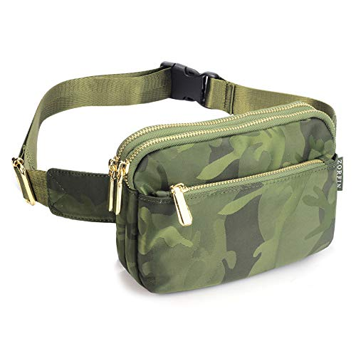 ZORFIN Fanny Pack for Men&Women Nylon Wasit Pack Bag Hip Bum Bag with 3 Zipper Pockets for Outdoors Workout Traveling Casual Running Hiking Cycling
