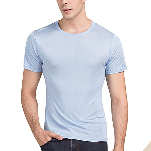 LingDooo Men's Pure Silk Shirt Soft Breathable Sport Basic T-Shirt Summer Short Sleeves Top (L(Tag 2XL), Light Blue)
