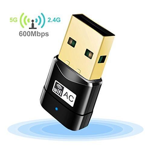 QICCONN 600Mbps USB WIFI Adapter, Mini Dual Band AC600 2.4G/5G WIFI Dongle Wireless Network Adapter for Desktop Laptop PC, Support Windows 10/8.1/8/7/Vista/XP(32/64bits) Mac OS X 10.4-10.12.2
