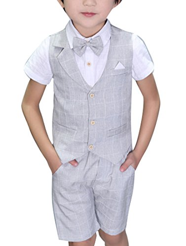 Boys Plaid Summer Suits Vest Set 3 Pieces Shirt Vest and Pants Set 3 Colors (8, Gray)
