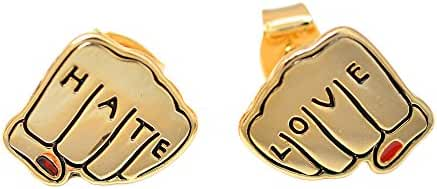 Spinningdaisy Gold Plated Fun Love and Hate Earrings