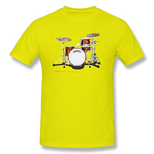 WENSON Men's Gretsch-Drums-Gretsch-Catalina-Club-Jazz-percussio-Drumset Classic T Shirts Yellow L with Short Sleeve