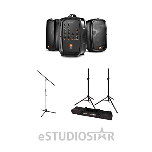 Package - 1 Set of JBL Professional EON 206P Portable PA System + 2 Speaker Stands + 1 EMB Emic800 Microphone by JBL