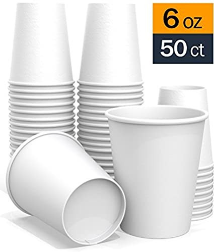 50 ct 6 oz All-Purpose White Paper Cups - hot Beverage Cup for Coffee Tea Water and Cold Drinks Ideal Bath Cup