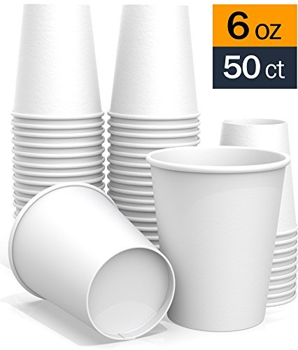 6 oz All-Purpose White Paper Cups (50 ct) - hot Beverage Cup for Coffee Tea Water and cold Drinks - ideal Bath (7 Oz Hot Cold Cup)