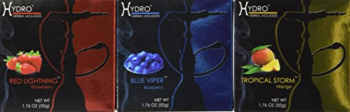 Hydro Herbal 50g, 3 Mix: Strawberry, Blueberry & Mango. Hookah Shisha Tobacco Free Molasses, Value Pack!