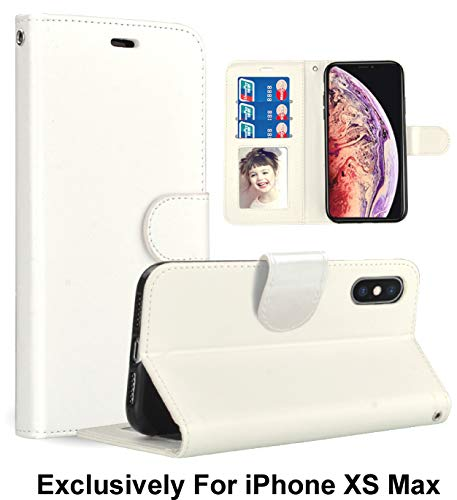 Pelotek; iPhone Xs Max Luxury Wallet, iPhone Xs Max White Wallet Case |Premium Quality Leather Case | Luxury White Case | Lanyard Strap Credit Card/ID Money Holder Slots | Durable -